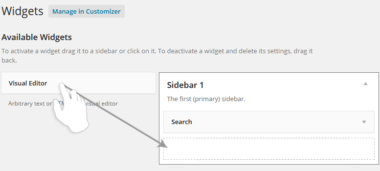 widgets with visual editor in wordpress