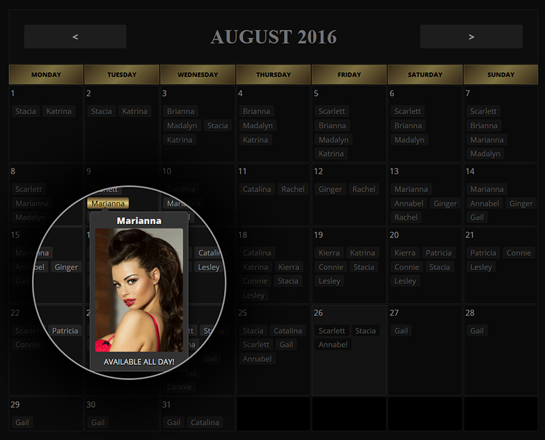 Escort availability calendar